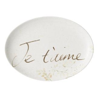'Jet'aime' - French Vintage Victorian Floral Porcelain Serving Platter