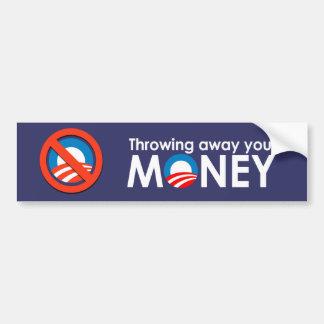 Jeter votre argent autocollant de voiture
