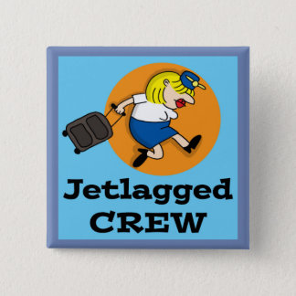 Jetlagged Comic | Jetlagged Crew Square Button