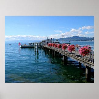 Jetty on Lake Geneva Poster