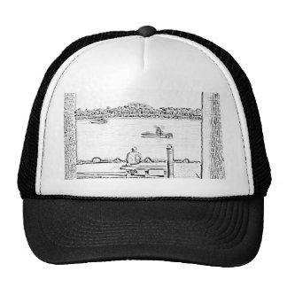 jetty scene in woodcut style beach ocean design trucker hats