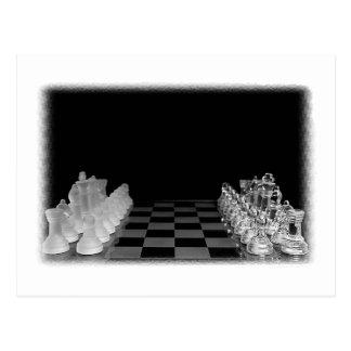 Jeu de société en verre éffrayant noir et blanc cartes postales
