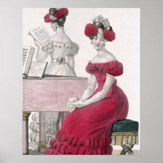 Jeune femme dans une robe de soirée de crêpe avec  poster