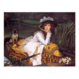 Jeune Madame et son carlin d'animal familier dans Carte Postale