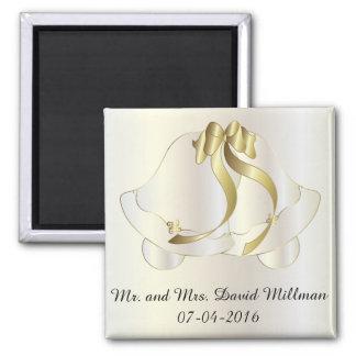 Jeune mariée de jour du mariage/aimant souvenir de magnet carré