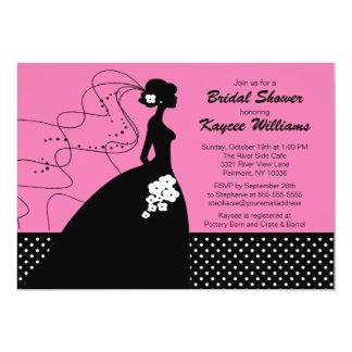 Jeune mariée de silhouette à l'invitation nuptiale carton d'invitation  12,7 cm x 17,78 cm