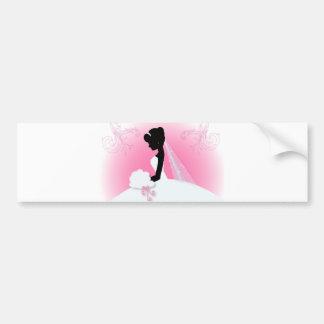 jeune mariée élégante rose moderne de silhouette autocollant de voiture