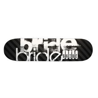 Jeune mariée ; Rayures noires et gris-foncé Plateaux De Skateboards Customisés
