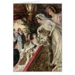 Jeune mariée victorienne vintage de nouveaux marié carte de vœux