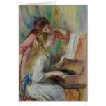 Jeunes filles au piano, c.1890 carte de vœux
