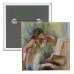 Jeunes filles au piano, c.1890 macaron carré 5 cm