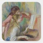 Jeunes filles au piano, c.1890 sticker carré