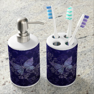 Jewel Butterfly Soap Dispenser And Toothbrush Holder