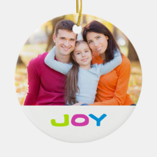 Jewel Color Joy Custom 2-sided Family Photo Ceramic Ornament