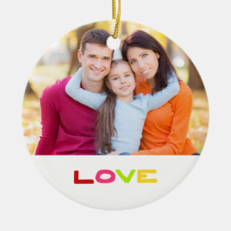 Jewel Color Love Custom 2-sided Family Photo Ceramic Ornament