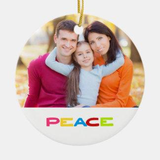 Jewel Color Peace Custom 2-sided Family Photo Ceramic Ornament