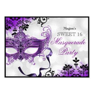 "Jewel Mask & Damask Purple Masquerade Sweet 16 4.5"" X 6.25"" Invitation Card"