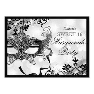 Jewel Mask & Damask Silver Masquerade Sweet 16 Card