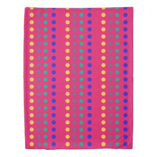 Jewel Polka Dot Stripes on Turquoise Reversible Duvet Cover