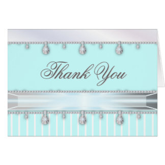 Jewel Sparkle on Turquoise Blue Thank You Card