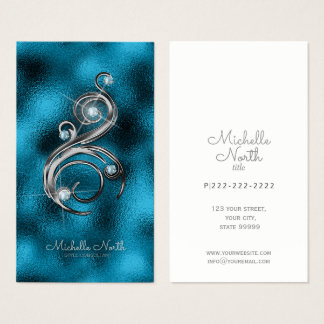 Jewel Studded Swirl Aquamarine ID366 Business Card