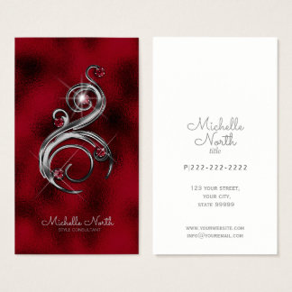 Jewel Studded Swirl Ruby ID366 Business Card