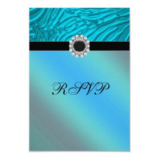 Jewel Teal Blue Zebra RSVP Card