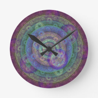 Jewel Toned Fractal Round Clock