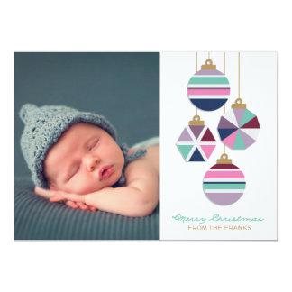Jewel Tones Geometric Ornaments Holiday Photo Card