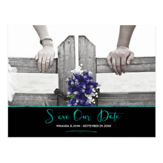 Jewel Watercolor Save Our Date Postcard