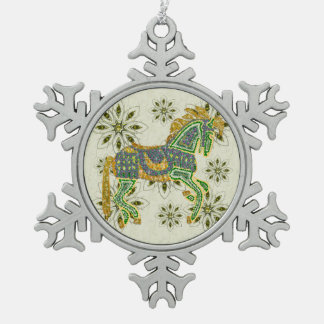 Jeweled Artistic Horse Snowflake Pewter Christmas Ornament