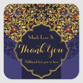 Jeweled Blue Red Gold Floral Custom Thank You Square Sticker