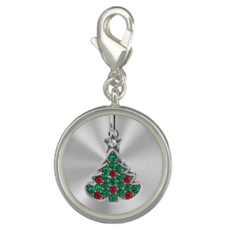 Jeweled Christmas Tree Photo Charm