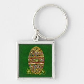 Jeweled Easter Egg Silver-Colored Square Keychain