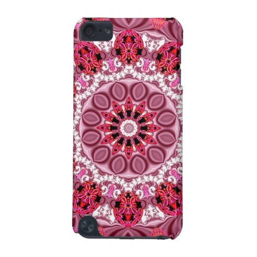 Jeweled Fans, Abstract Lace Candy, Red Pink Rose iPod Touch (5th Generation) Cover