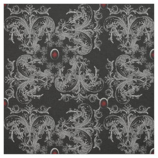 Jeweled Gray Gothic Damask Fabric