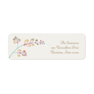 Jeweled Leaves Return Address Label