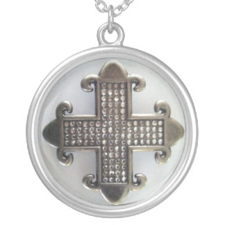 JEWELED MALTESE CROSS ON WHITE print Silver Plated Necklace