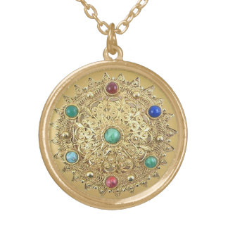 Jeweled Medallion Gold Plated Necklace