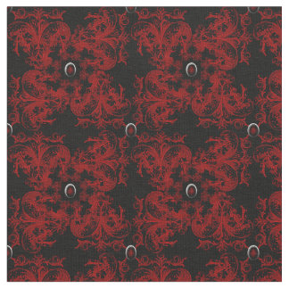 Jeweled Red Gothic Damask Fabric