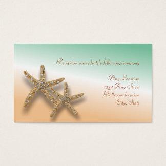 Jeweled Starfish Wedding Reception Card