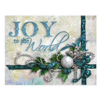 Jeweled Teal and Silver Christmas Postcard
