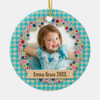 Jeweled Teal Houndstooth | Your Own Photo Monogram Round Ceramic Ornament