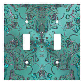 Jeweled Teal Mandala Light Switch Cover