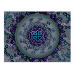 Jewelled Celtic Fractal Mandala Postcard