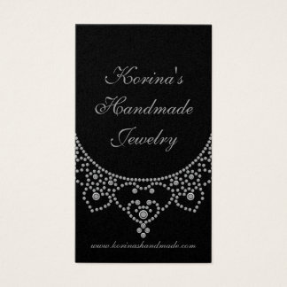 Jewelled Glam Business Card, Silver Business Card