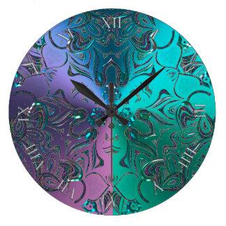 Jewelled Mandala Cool Hued Metallic Gradient Large Clock
