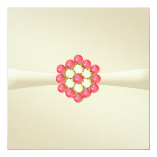 Jewelled Party Invitation Ivory, Pearls and Ruby
