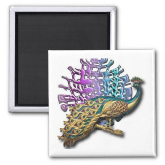 Jewelled peacock magnet