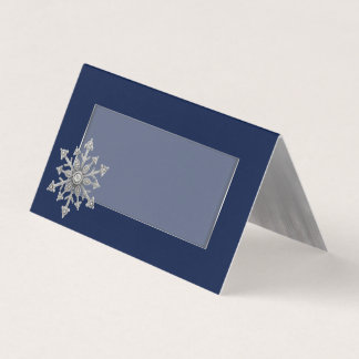 Jewelled Snowflake Wedding Folded Place Card